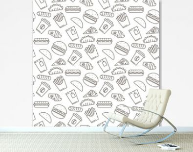 Vector fast food icons seamless pattern
