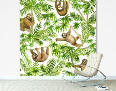 Sloth in tropic forest. Seamless watercolor pattern