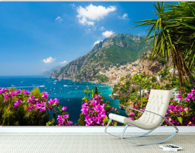 Landscape with Positano town at famous amalfi coast, Italy