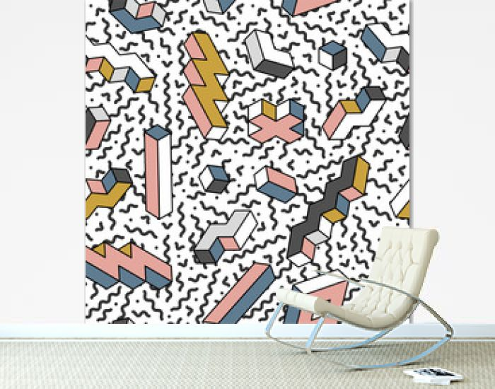 Modern seamless trendy pattern with geometric 3d shapes - repeatable colorful design. Retro fashion style 80-90s