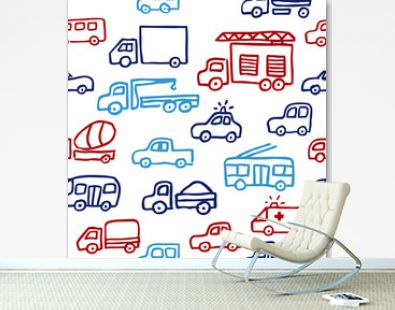 A vector seamless pattern with auto doodle outline images. A firefighting truck, a truck and other machines in red and blue colors for a design.