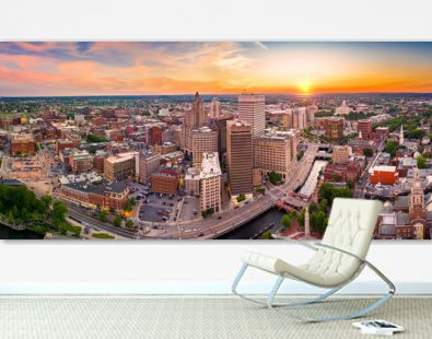 Aerial panorama of Providence skyline at sunset. Providence is the capital city of the U.S. state of Rhode Island. Founded in 1636 is one of the oldest cities in USA.