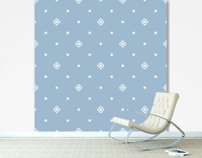 Vector minimalist geometric texture. Subtle geometric seamless pattern with small squares, dots, snowflakes. Elegant light blue abstract background. Simple minimal repeat design for decor, wallpapers