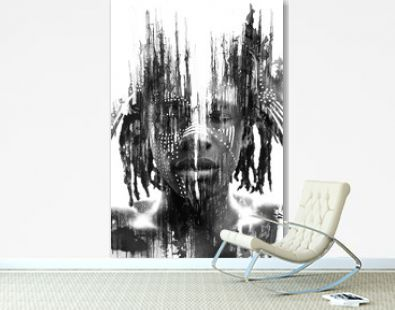 Paintography. Expressive African man combined with dramatic double exposure art techniques and hand drawn paintings