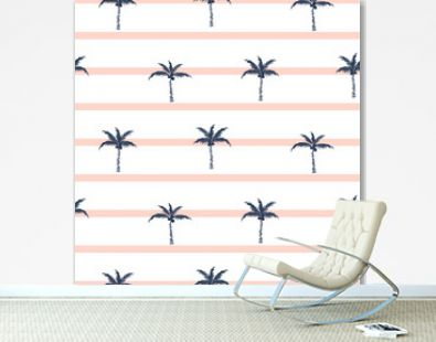 Palm trees blue and pink striped retro style seamless pattern design for shirts.
