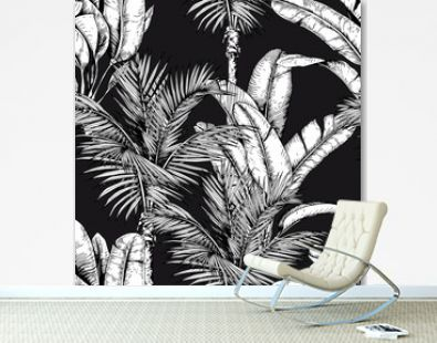 Seamless pattern with tropical palm trees and banana leaves. Black and white vector. Hand drawn illustration.