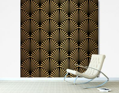 Art Deco Pattern. Seamless black and gold background.