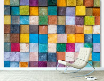 Abstract wood texture block stack on the wall for background, Abstract art wood texture architecture block for backdrop.