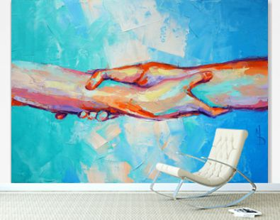 """Hands"" - oil painting. Conceptual abstract hand painting. The picture depicts a metaphor for teamwork. Conceptual abstract closeup of an oil painting and palette knife on canvas."