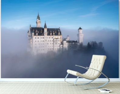 View on Neuschwanstein Castle on the foggy day, Bavaria, Germany