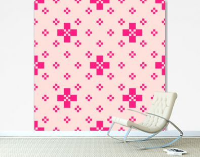 Vector minimalist geometric seamless pattern with small crosses. Bright pink