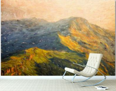 Digital mountains view oil painting with real brush strokes effect. Contemporary impressionism mixed style wall art print. Power of nature scene. Vacation postcards and prints design. Beauty artwork.