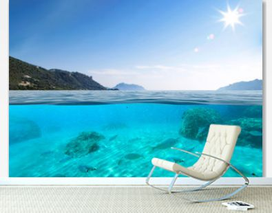 Summer photo of underwater background and sunny day.