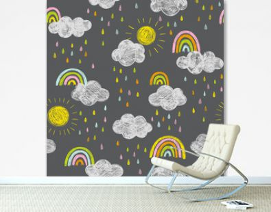 Cute doodle vector pattern with rainbows and clouds. Sky seamless background with hand drawn weather icons. Chalkboard style.