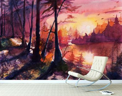 Watercolor forest landscape painting, beautiful abstract drawing art with sunset, sunrise, autumn, hand drawn fantasy art with nature, beautiful background by watercolor and colored pencils