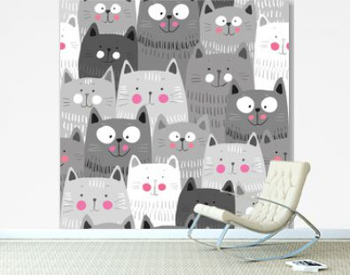 Cute cats, colorful seamless pattern background with cats