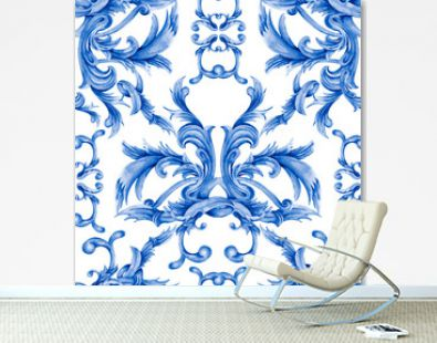 Watercolor blue baroque seamless pattern, rococo ornament texture. Hand drawn gold scrolls, leaves.