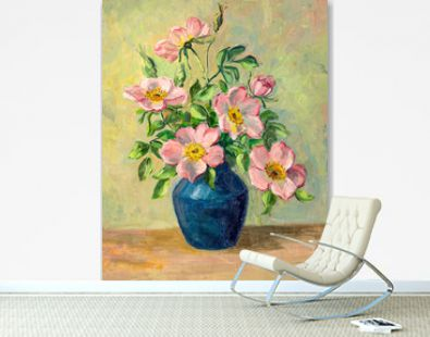 Vintage oil painting of flowers in vase.