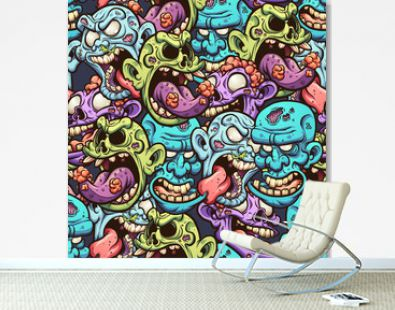 Cartoon zombie head seamless pattern. Vector illustration with simple gradients. All in a single layer.