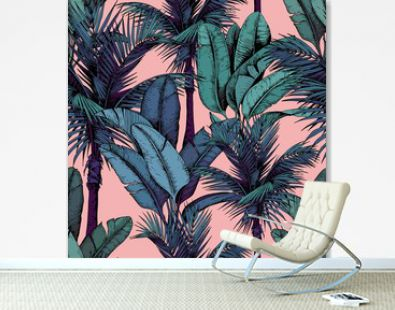 Seamless pattern with tropical palm and banana leaves on pink background. Hand drawn vector illustration.