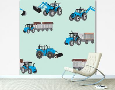 A seamless pattern with blue construction tractors on a green background
