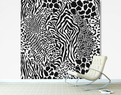Wild animal skins patchwork camouflage wallpaper black and white fur abstract vector seamless pattern