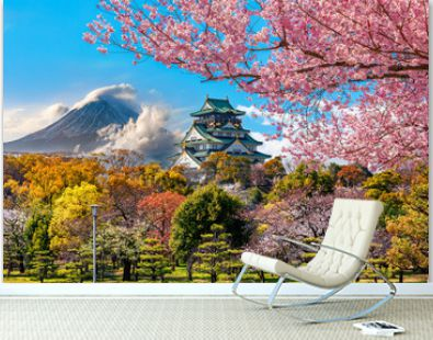 Osaka Castle and full cherry blossom, with Fuji mountain background, Japan.