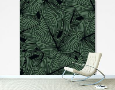 Monstera leaves seamless pattern on black background. Tropical pattern, botanical leaf backdrop.