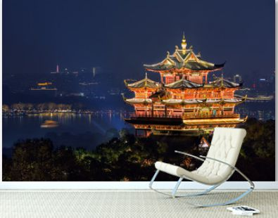 Night view of illuminated Cheng Huang Ge, also known as City God Pavillion, Hangzhou, China