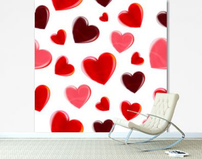 Beautiful seamless pattern. Valentines day love beautiful hearts of different sizes isolated on white background. Realistic red love symbols. Vector illustration.