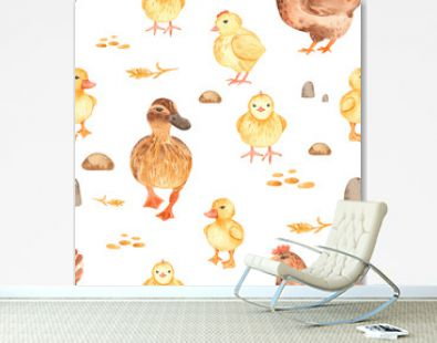 Watercolor seamless pattern with cute cartoon farm poultry