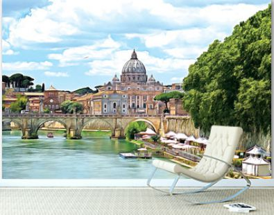 Saint Peter Basilica and Sant'Angelo Bridge, over Tiber river. Rome, Italy. Drawing.