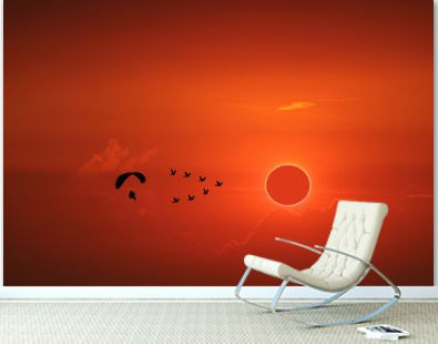 amazing phenomenon of total sun eclipse over silhouette birds flying and paramotor on sea and sunset sky
