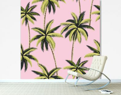 Tropical green palm trees floral seamless pattern pink background. Exotic jungle wallpaper.