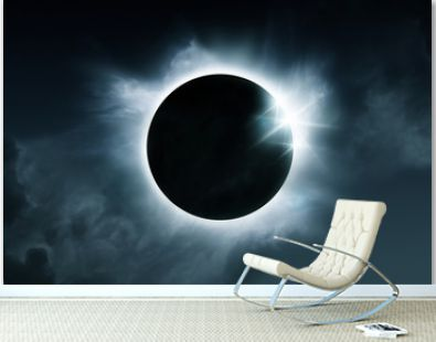 A solar eclipse. The total eclipse is caused when the sun, moon and earth align. Illustration.