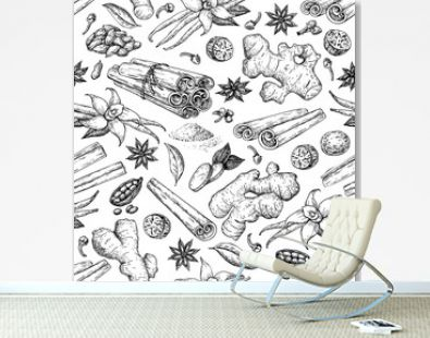 Winter spice seamless pattern, vector drawing. Flavoring seeds and herbs for christmas food