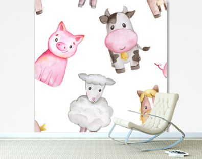 Watercolor farm seamless pattern with animals. Cute cartoon characters. Cute horse, cow, pig, sheep