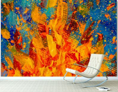 Abstract impressionism palette knife painting flame of fire, yellow orange bonfire on blue background - large fragment of oil painting