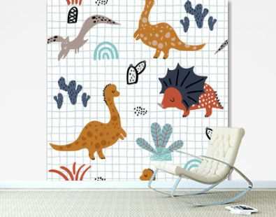 Childish seamless pattern with hand drawn dino, palm trees and cactuses in scandinavian style. Creative vector childish background for fabric, textile