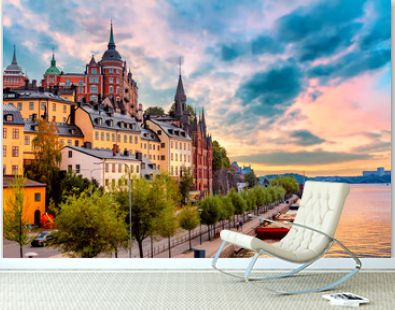 Stockholm, Sweden. Scenic summer sunset view with colorful sky of the Old Town architecture in Sodermalm district.