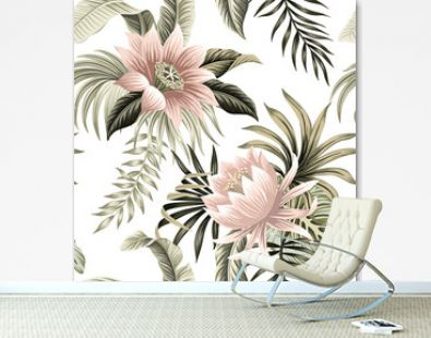 Tropical vintage pink lotus, palm leaves, banana leaves floral seamless pattern white background. Exotic jungle wallpaper.