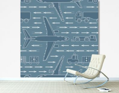 seamless pattern with airplanes and airport vehicles on gray background