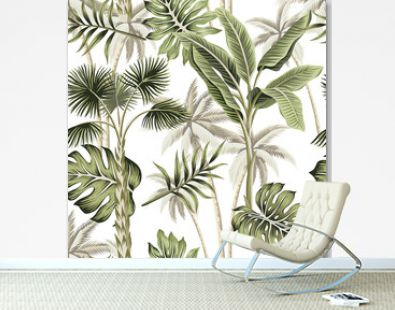 Tropical vintage botanical landscape, palm tree, palm leaves floral seamless pattern white background. Exotic jungle wallpaper.