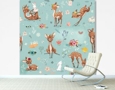 seamless pattern with little deer and hare