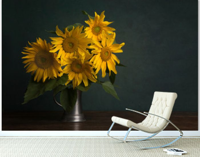 Bouquet of sunflowers in a classical fine art image