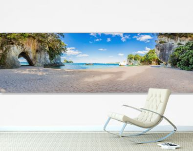 Panoramic picture of Cathedral Cove beach in summer without people during daytime