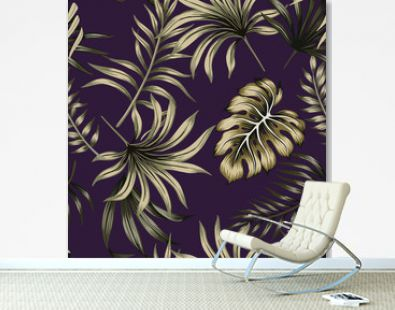 Tropical floral foliage dark green palm leaves seamless pattern purple background. Exotic jungle wallpaper.