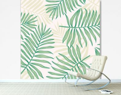 Tropical seamless pattern with palm leaves. Modern abstract design