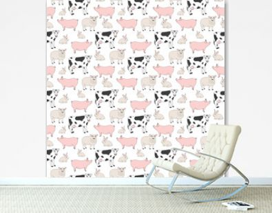 Seamless pattern with farm (domestic) animal - cow, sheep, pig and rabbit on white background. Cute print with colored graphic elements for textile, fabric, wrapping paper, scrapbooking, web design