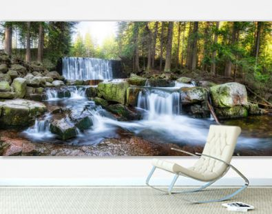 Beautiful panorama of waterfall in the forest